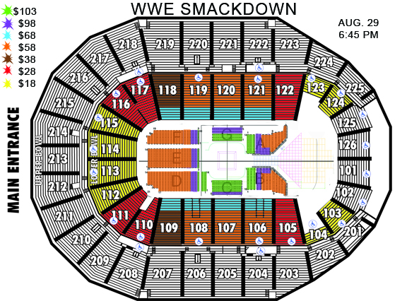 WWE Smackdown LIVE Seating Chart