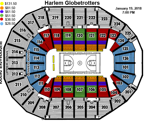 The Harlem Globetrotters Seating Chart